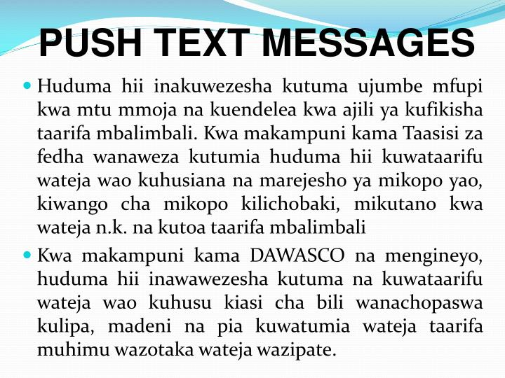 PUSH TEXT MESSAGES