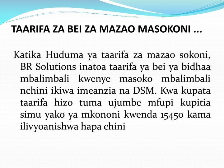 TAARIFA ZA BEI ZA MAZAO MASOKONI ...