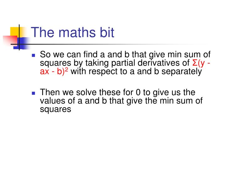 The maths bit