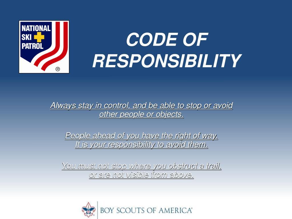CODE OF RESPONSIBILITY