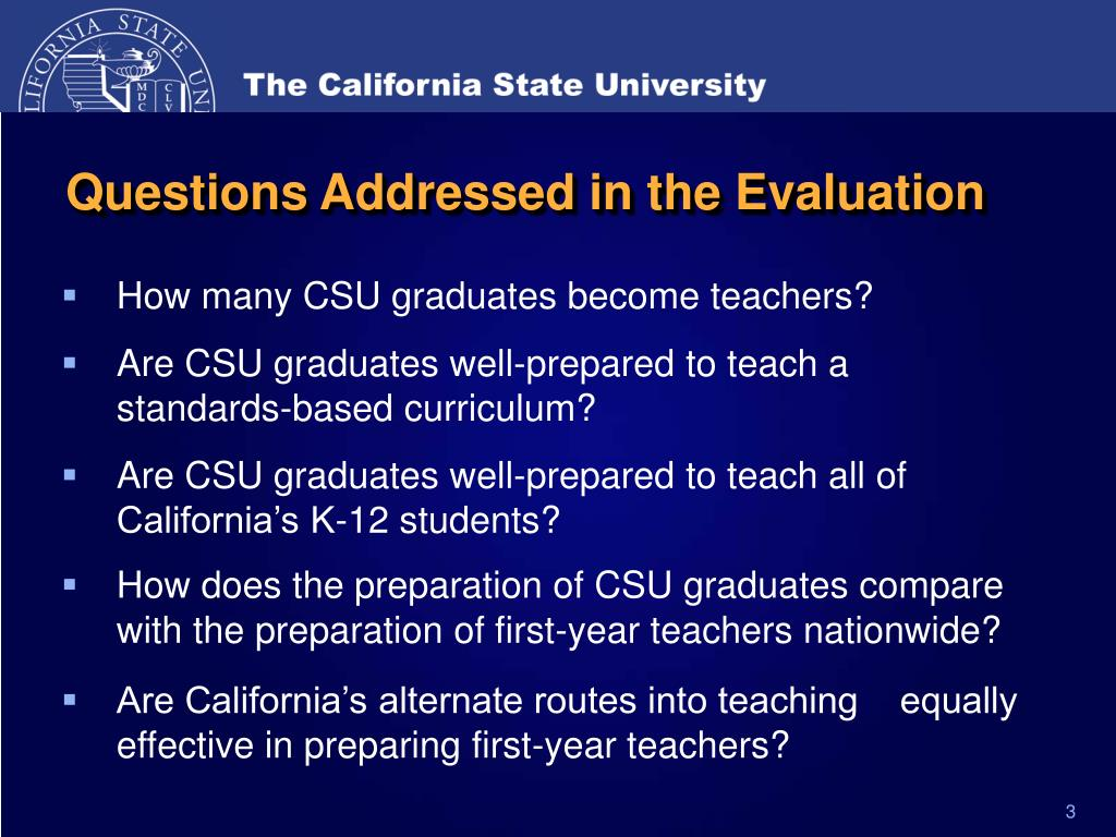 Questions Addressed in the Evaluation