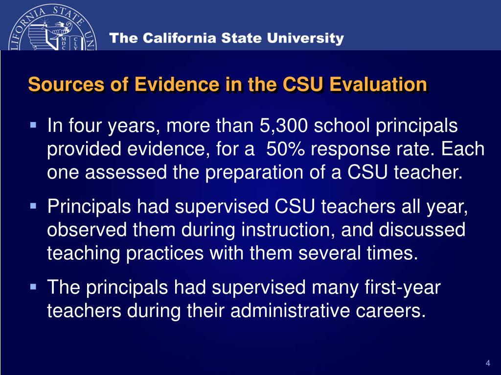 Sources of Evidence in the CSU Evaluation