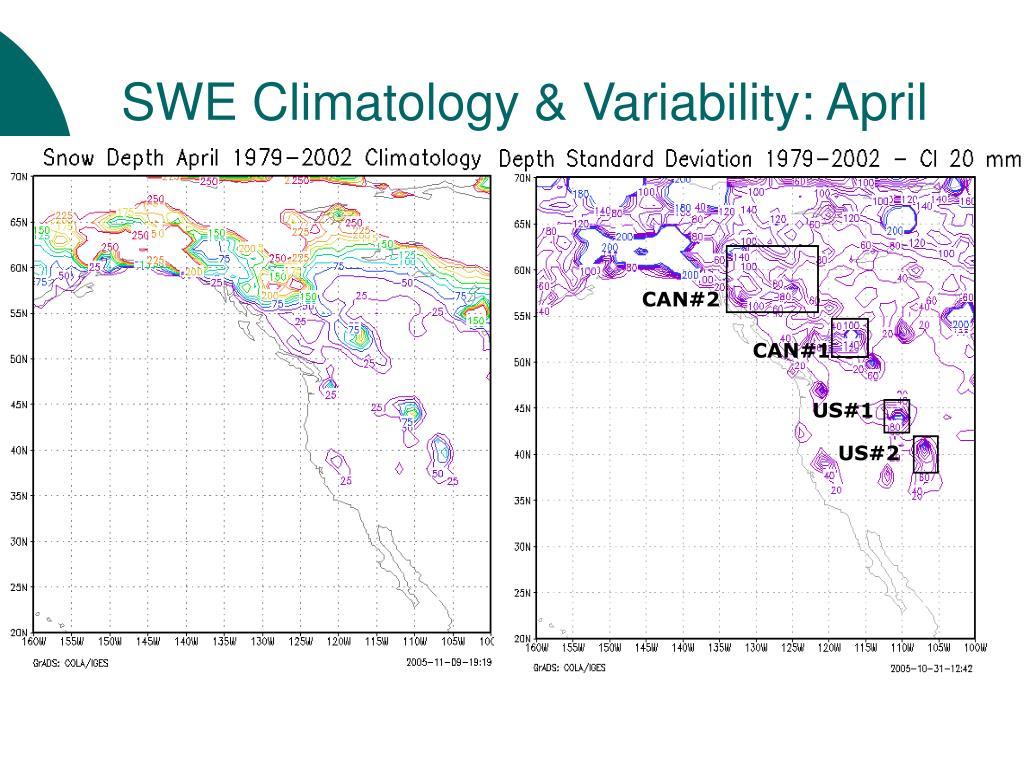 SWE Climatology & Variability: April