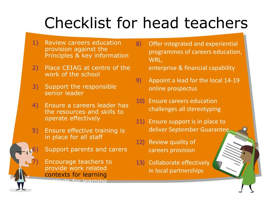 Checklist for head teachers