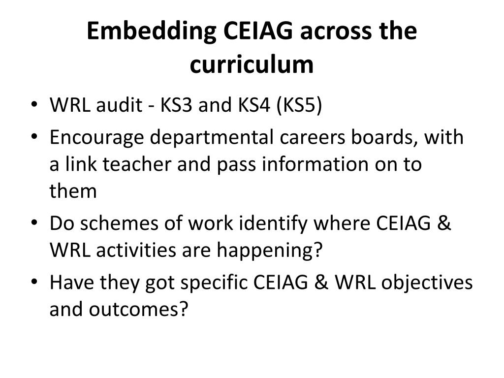 Embedding CEIAG across the curriculum