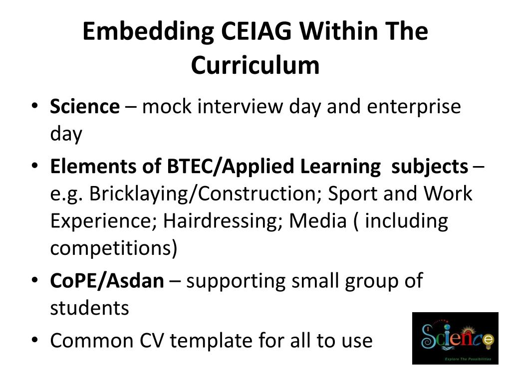 Embedding CEIAG Within The Curriculum