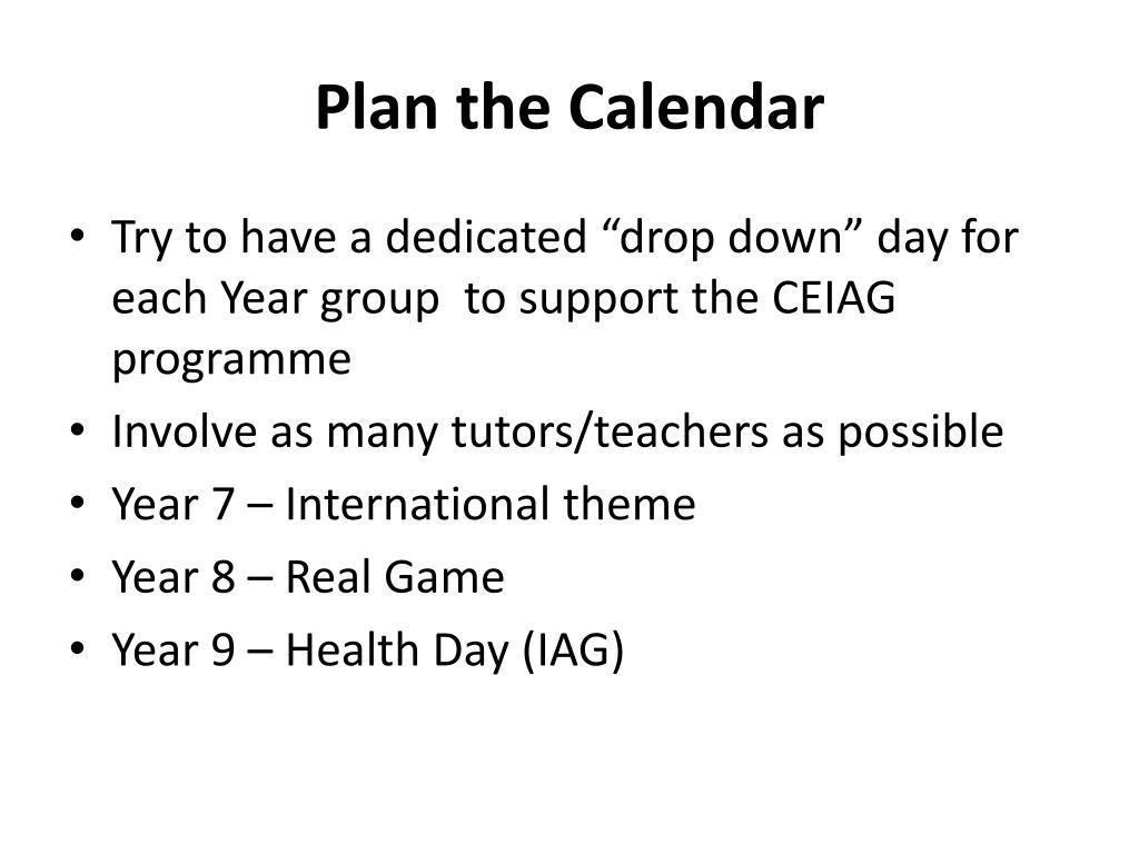 Plan the Calendar