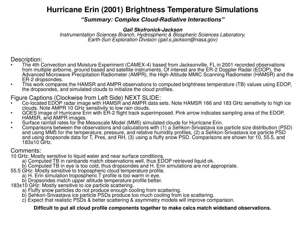 Hurricane Erin (2001) Brightness Temperature Simulations
