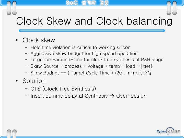 Clock Skew and Clock balancing