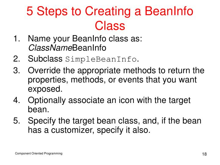 5 Steps to Creating a BeanInfo Class