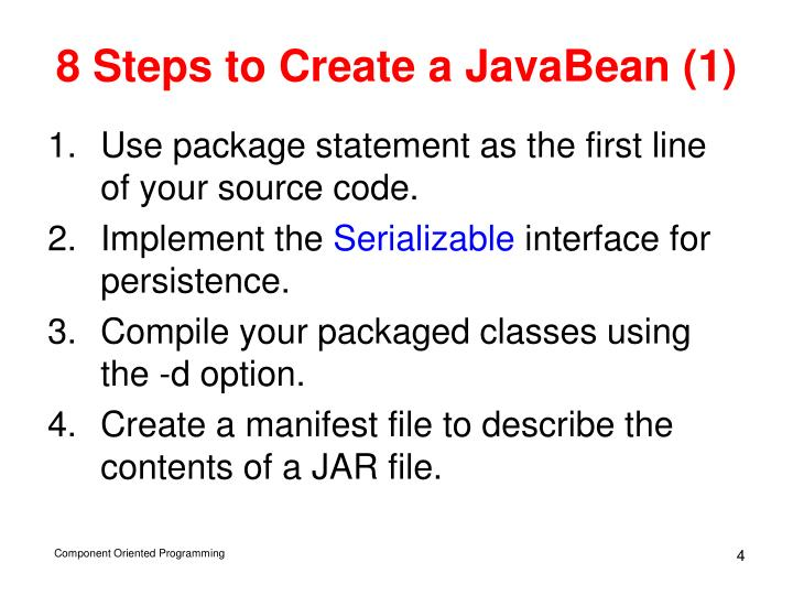 8 Steps to Create a JavaBean (1)