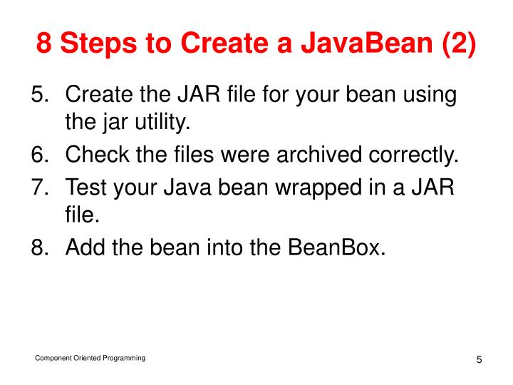8 Steps to Create a JavaBean (2)
