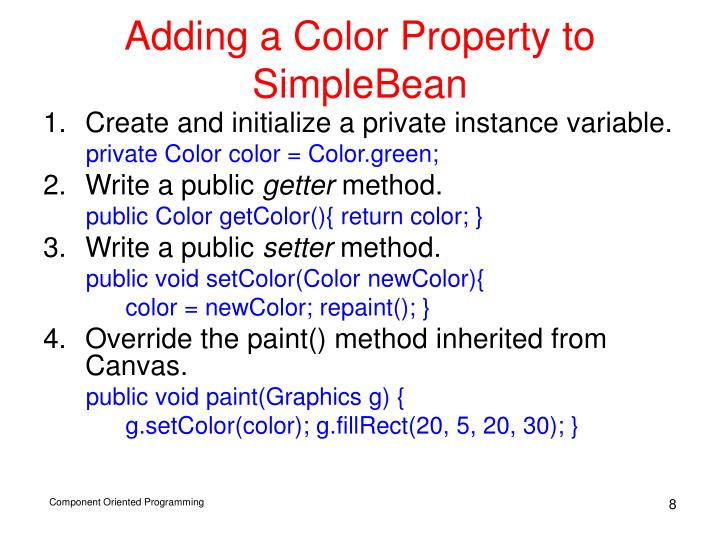 Adding a Color Property to SimpleBean