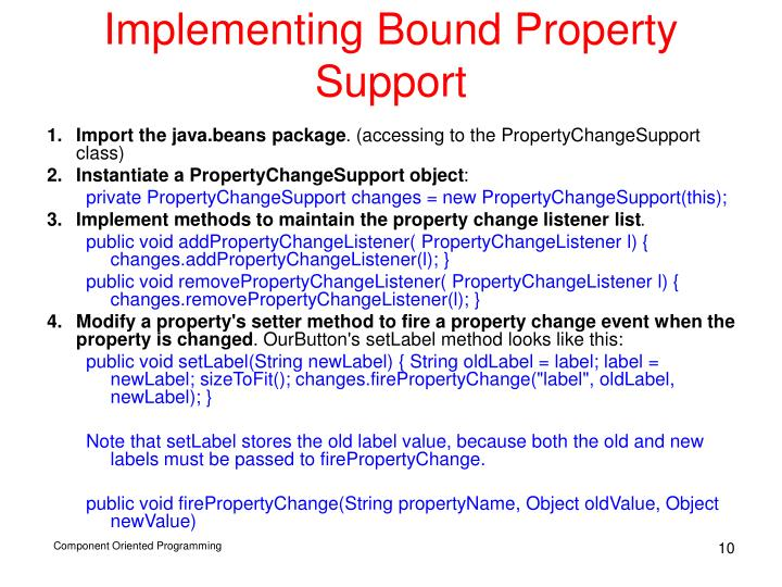 Implementing Bound Property Support