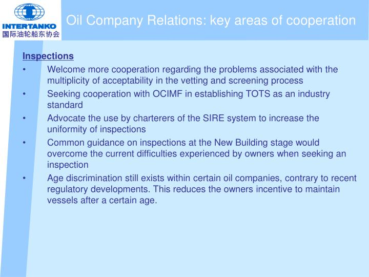 Oil Company Relations: key areas of cooperation