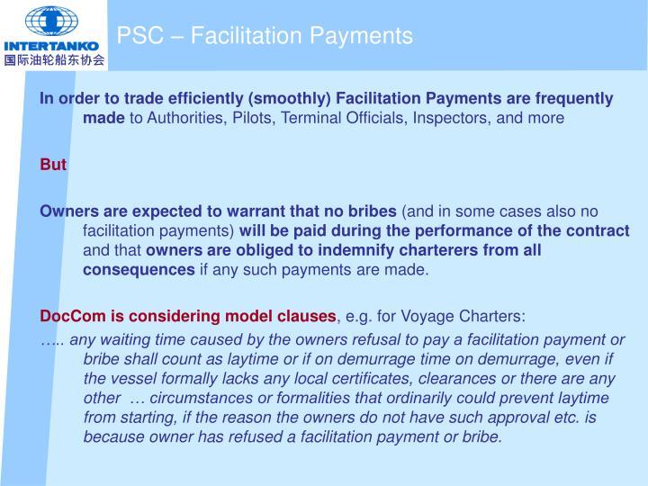 PSC – Facilitation Payments