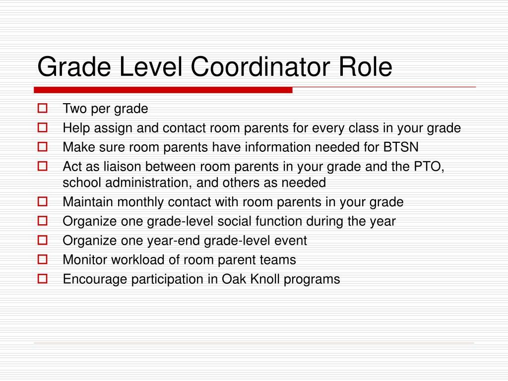 Grade Level Coordinator Role