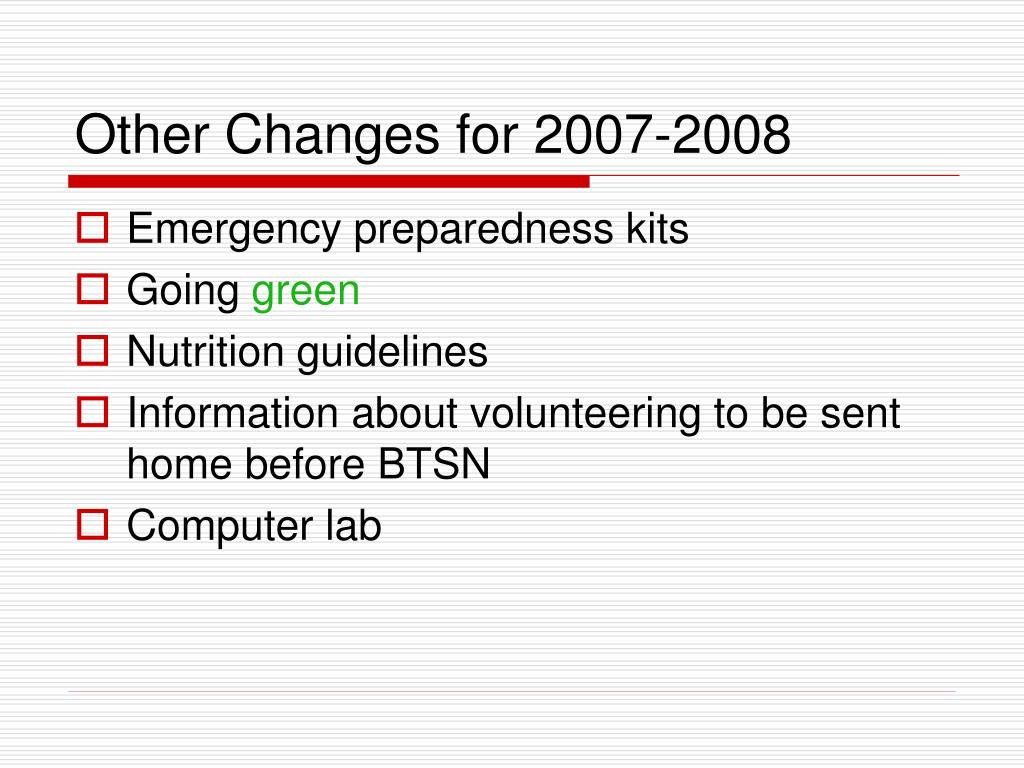 Other Changes for 2007-2008
