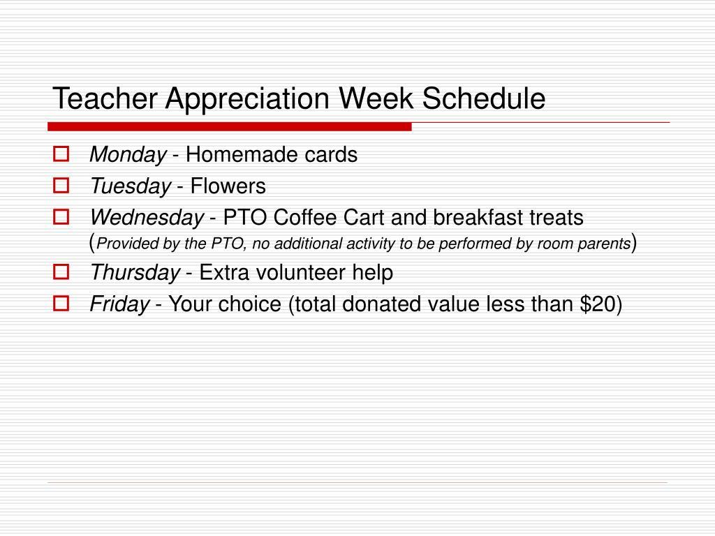 Teacher Appreciation Week Schedule