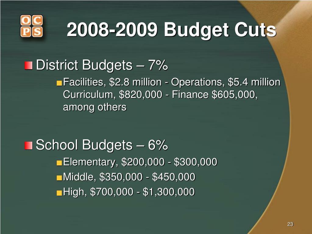 2008-2009 Budget Cuts