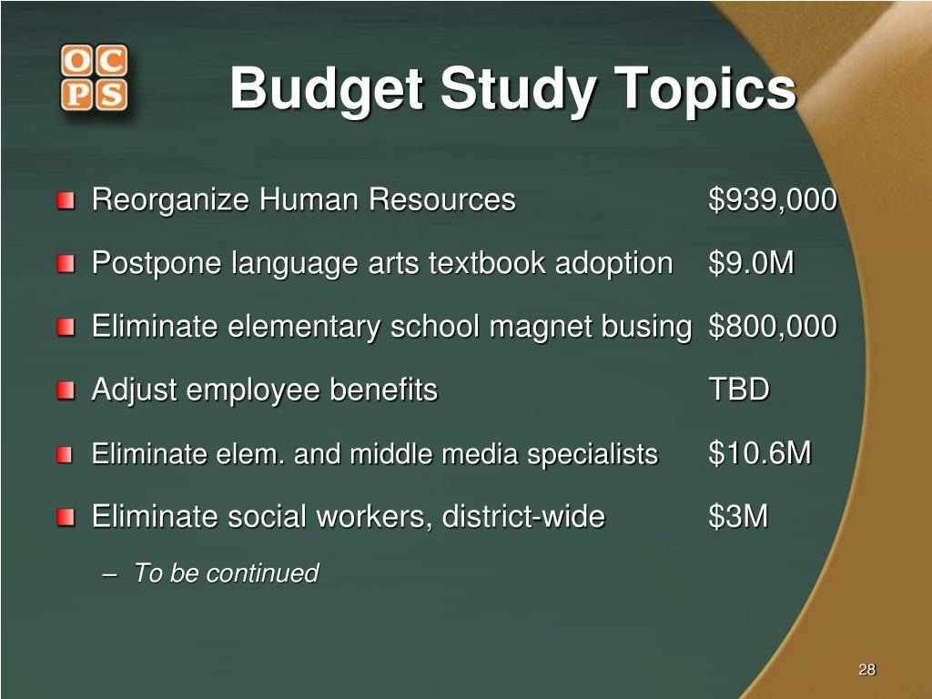 Budget Study Topics