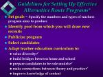 guidelines for setting up effective alternative route programs11