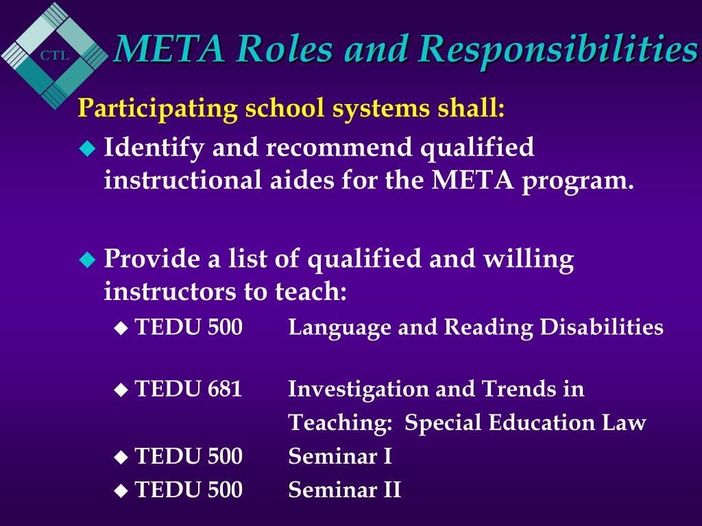 META Roles and Responsibilities