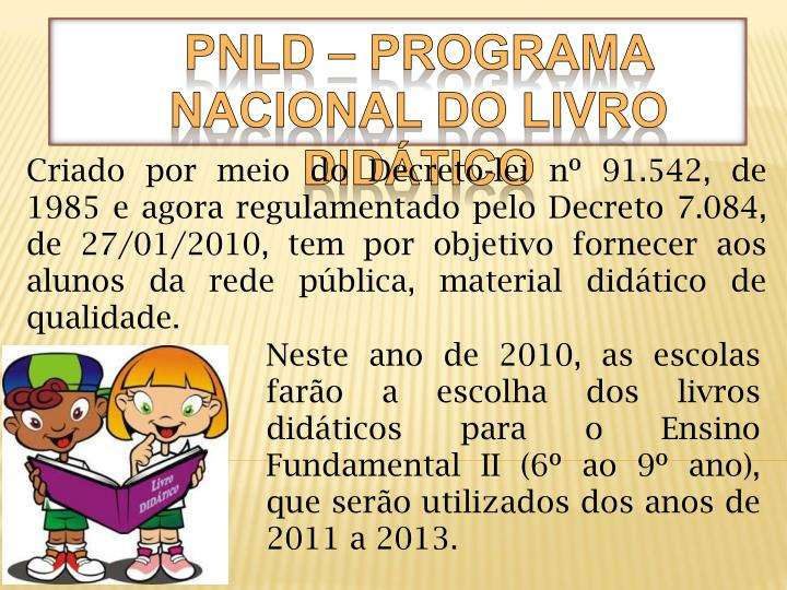 Pnld programa nacional do livro did tico