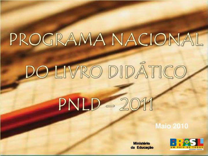 Programa nacional do livro did tico pnld 2011