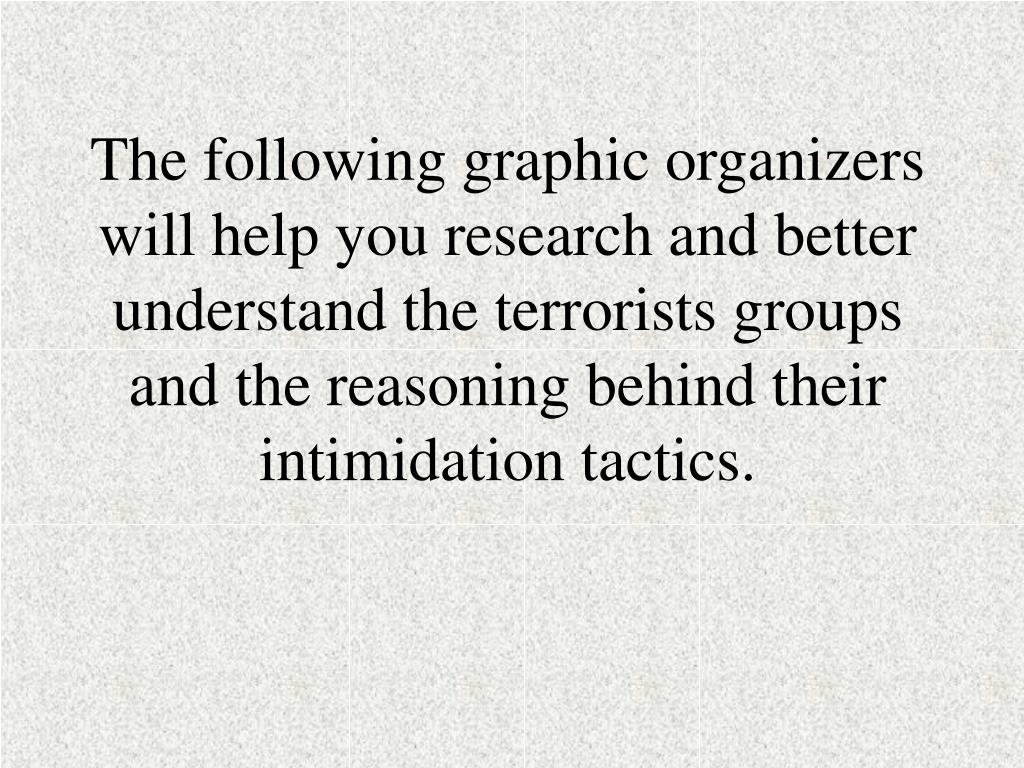 The following graphic organizers will help you research and better understand the terrorists groups and the reasoning behind their intimidation tactics.