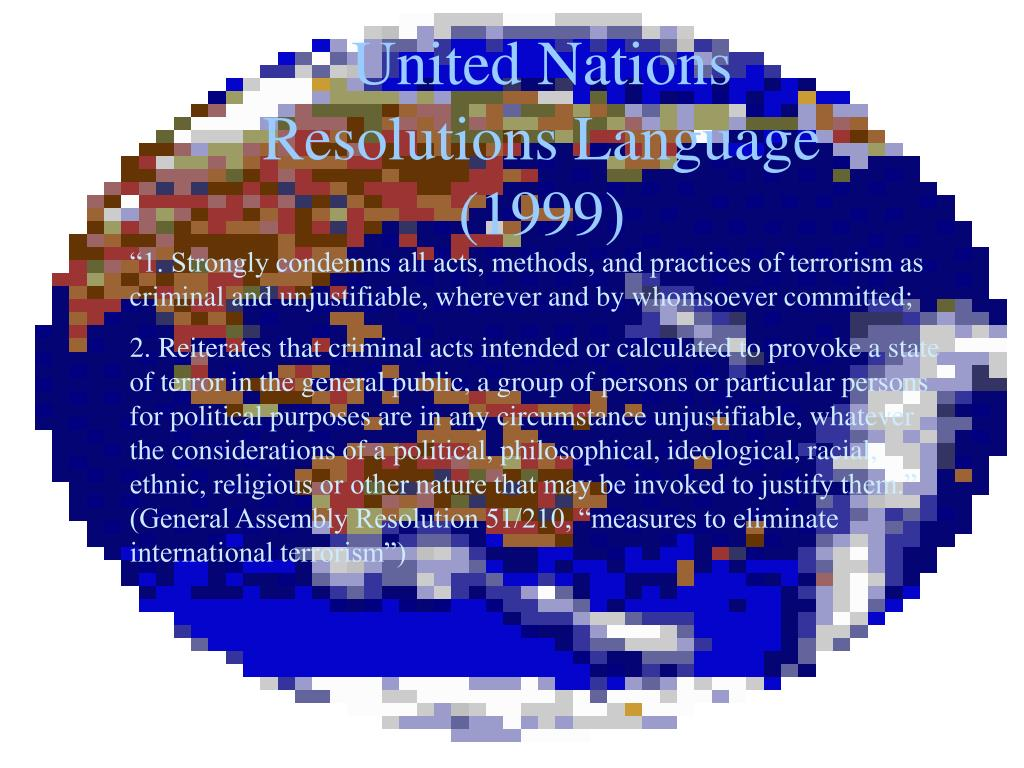 United Nations Resolutions Language (1999)