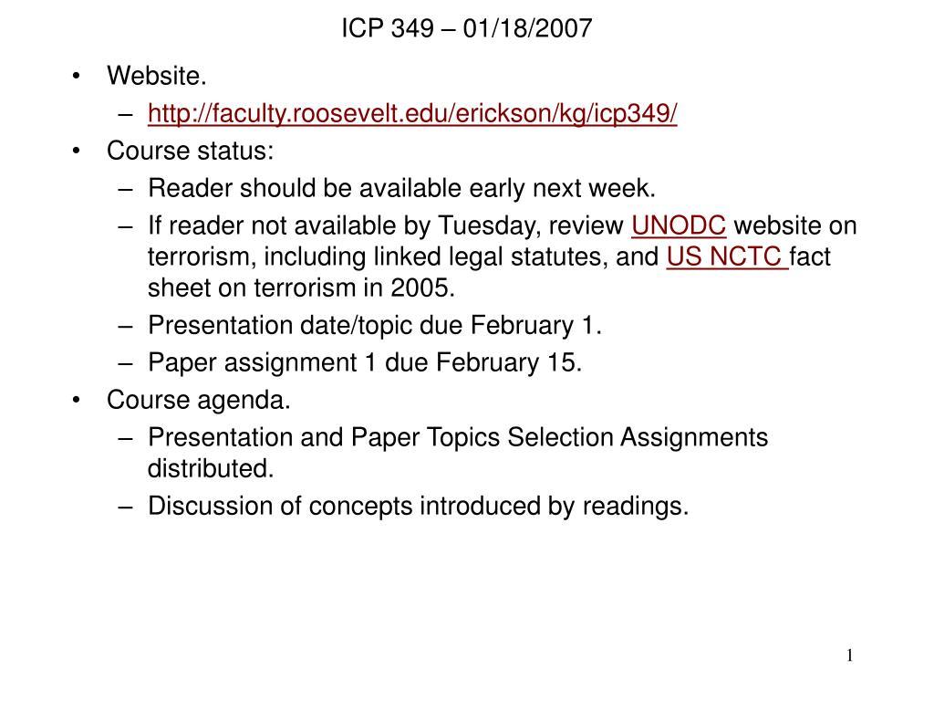 ICP 349 – 01/18/2007