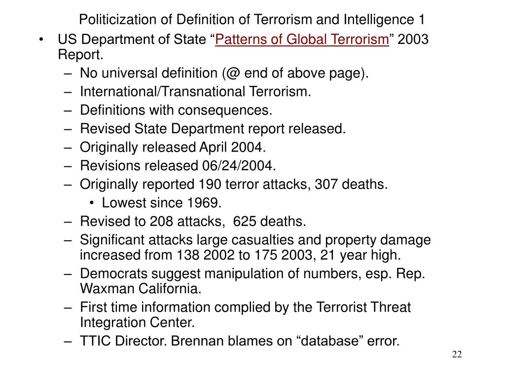 Politicization of Definition of Terrorism and Intelligence 1