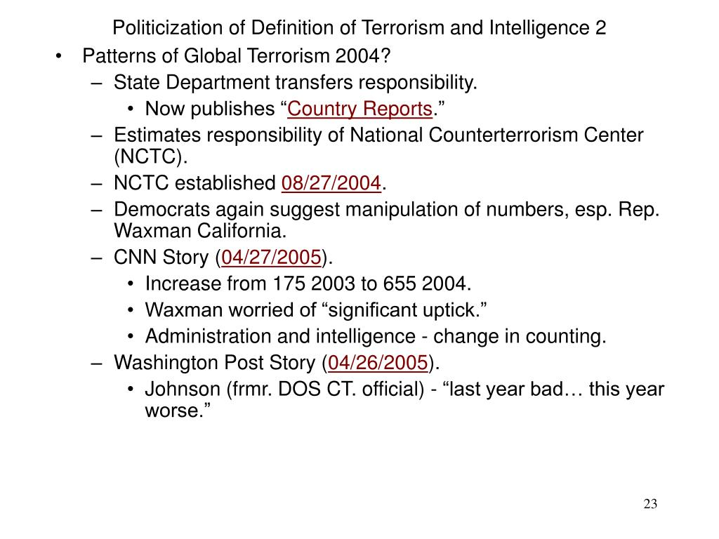 Politicization of Definition of Terrorism and Intelligence 2