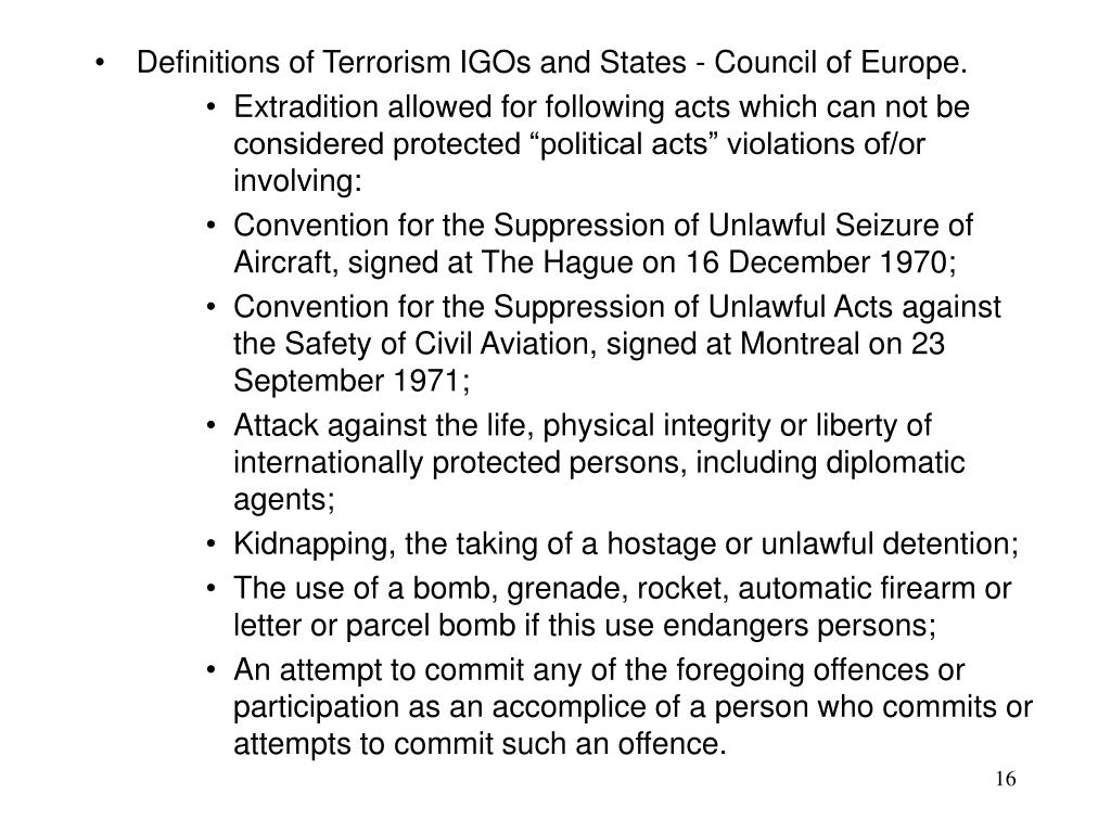Definitions of Terrorism IGOs and States - Council of Europe.