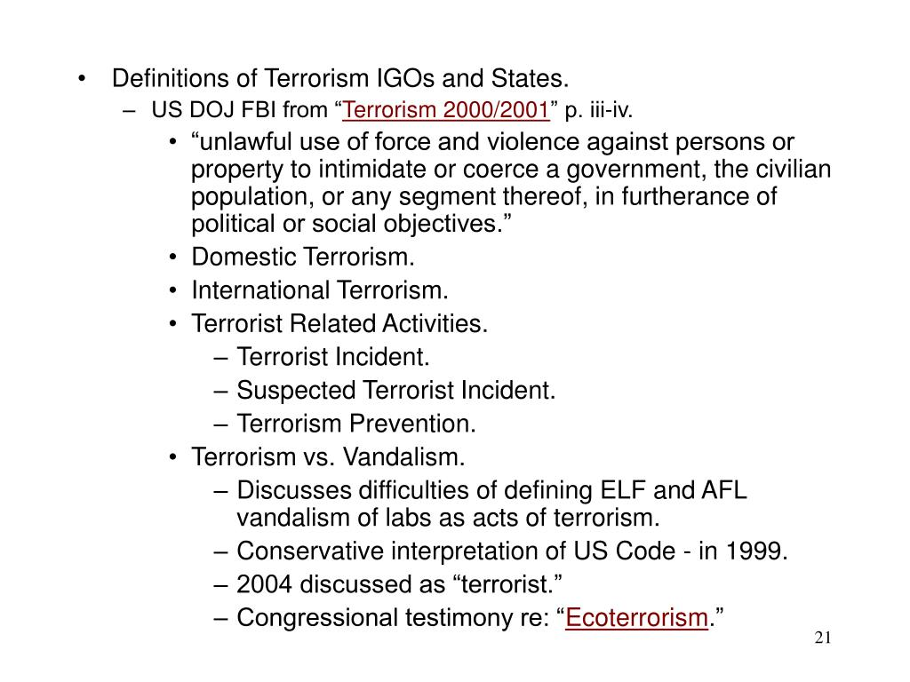 Definitions of Terrorism IGOs and States.