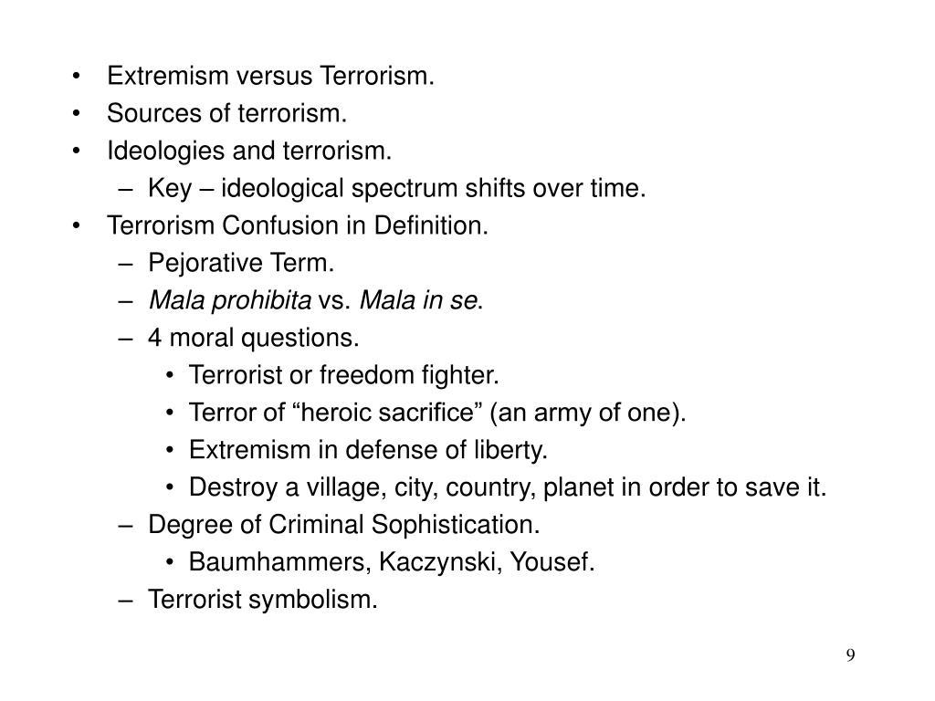 Extremism versus Terrorism.