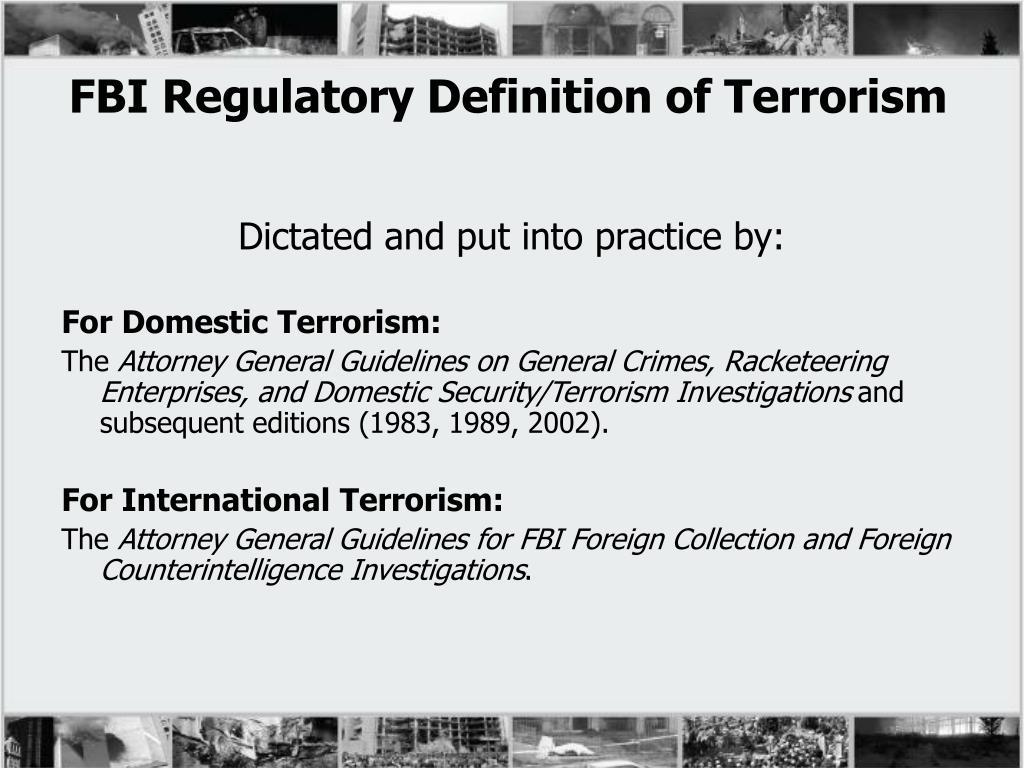 FBI Regulatory Definition of Terrorism