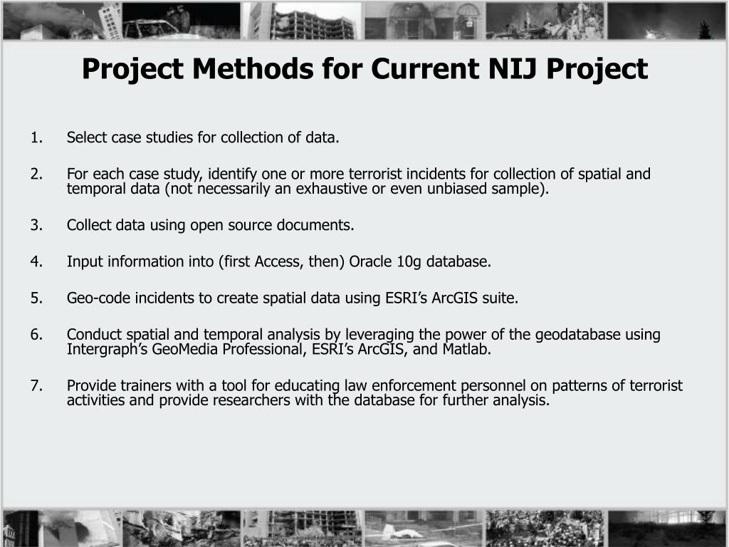 Project Methods for Current NIJ Project