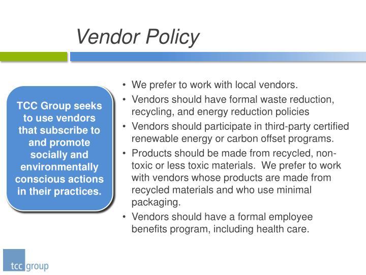 Vendor Policy