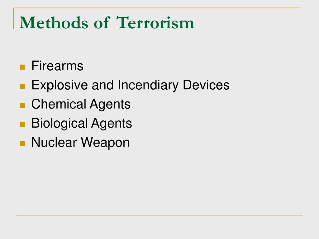 Methods of Terrorism