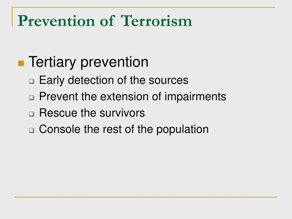 Prevention of Terrorism