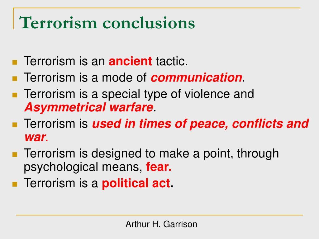 Terrorism conclusions