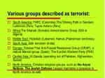 various groups described as terrorist