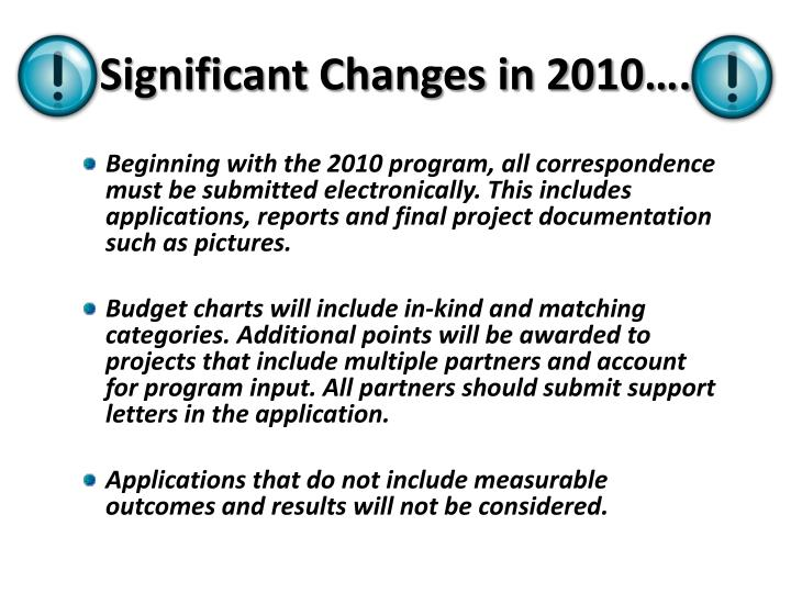 Significant Changes in 2010….