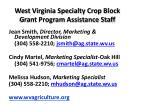 west virginia specialty crop block grant program assistance staff