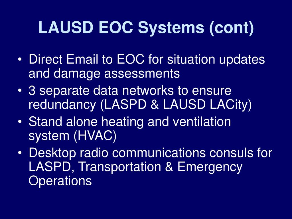 LAUSD EOC Systems (cont)