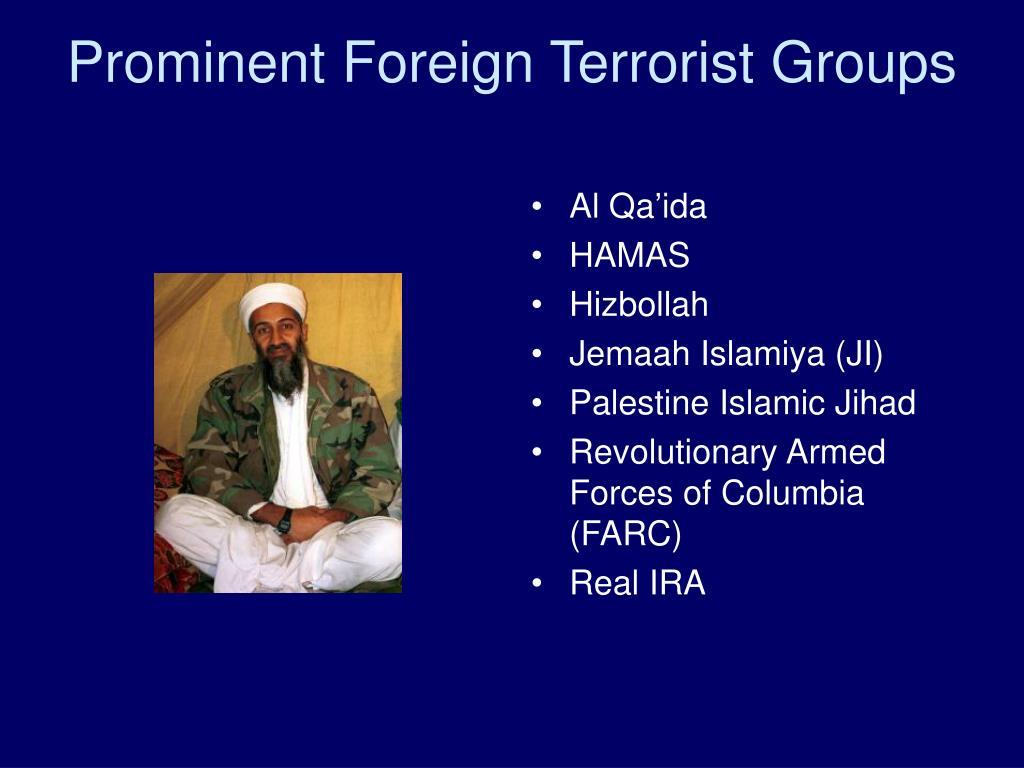Prominent Foreign Terrorist Groups