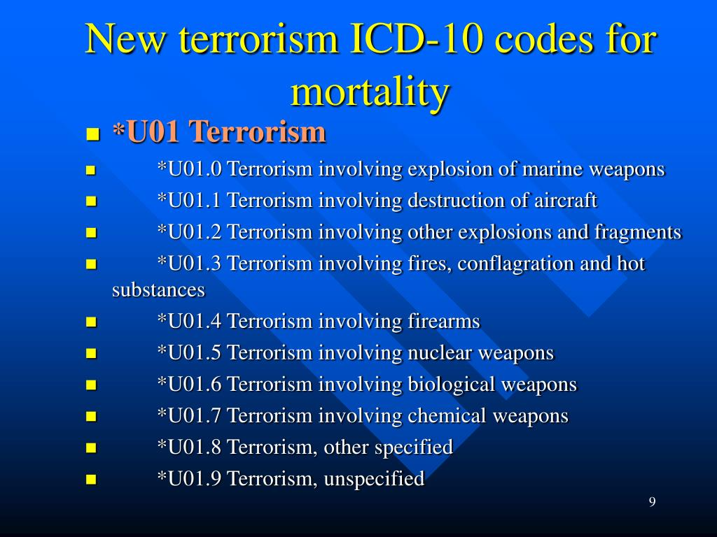 New terrorism ICD-10 codes for mortality