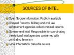 sources of intel